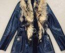 Кожаная зимняя куртка с натуральным мехом внутри
