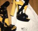 Туфли жёлтые , высокий каблук W2Paris
