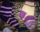 Теплые вязаные носки и тапочки
