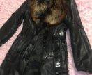 Кожаное пальто с лисой