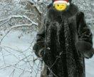 Новая шуба мутон и норковая шапка размер 52-54