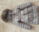 Пальто для девочки 9-10лет. Натуральный мех и пух.