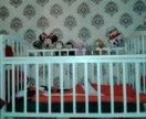 Детская кроватка с продольным маятником +матрац