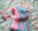 Шапка и одеяло вязаные детские