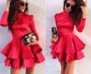 Красное эффектное платье
