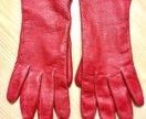 Кожаные перчатки красные