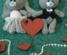 Вязаные игрушки Мишки Тедди. Жених и невеста