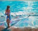 """Картина маслом """"Девушка и море"""""""