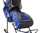 Санки коляски галактика цвет синий с оленями