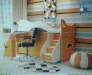 Розовая Детская кровать-чердак+стол+лесница+стелаж