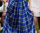 Шёлковая синяя юбка в пол