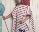 Детское полотенце-пончо, белое в розовую полоску