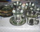 Кофейный сервиз с напылением под серебро.