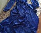 Синее платье с запАхом очень красивое