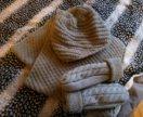Вязанные шапка, снуд и варежки