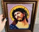 Икона из бисера ручной работы Иисус Христос