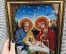 Икона ручной работы из бисера Рождество христово