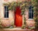 """Картина """"Уютный дворик"""" холст, масло."""