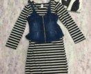 Трикотажное платье с жилеткой. Новое