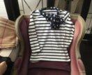 Блузка трикотажная с шалевым воротником и с бантом