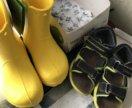 Сандали и новые сапожки  резиновые под crocs