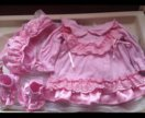 Платье с чепчиком и пинетками на 2-6 месяцев