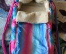 Детская Зимняя сумка переноска/конверт на овчине