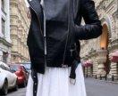 Новая кожаная куртка косуха с рифлеными рукавами