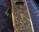 Samsung galaxy s8 золотистый бампер со стразами
