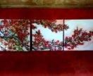 Картина на холсте 150×50 ,''Сакура'