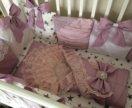 Нежные бортики в кроватку для девочки ( конверт)