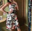 Сарафан, платье, красное с черным поясом
