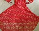 Продам красное платье с шлейфом