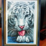 """Вышивка крестом """"белый тигр"""". Фото 1."""