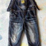 Утепленный джинсовый комбинезон на ребенка 1 - 2 л. Фото 1.