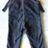 Утепленный джинсовый комбинезон на ребенка 1 - 2 л. Фото 2.