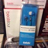 ✅синие компактные наушники-вкладыши bbk ep-1200s. Фото 1.