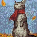 Картина по номерам осенний кот. Фото 1.