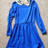 Трикотажное платье, воротник с райетками. Фото 1.