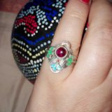 Кольцо серебро эмаль гранат. Фото 3. Москва.