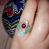 Кольцо серебро эмаль гранат. Фото 4. Москва.