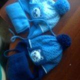 Шапка и шарф весна-осень для двойни. Фото 1.