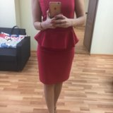 Платье красное с баской новое 40-42 р-р. Фото 3. Екатеринбург.