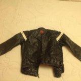 Кожаная куртка zara 4-6 лет. Фото 1.