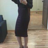 Новая юбка карандаш zara винного цвета. Фото 2.