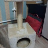 Когтеточка с домиком для кошки. Фото 1.