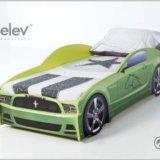 Кровать-машина мустанг (цвет зеленый). Фото 3.