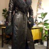 Пальто кожаное утеплённое. Фото 2.