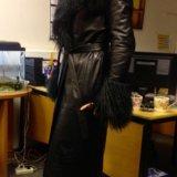 Пальто кожаное утеплённое. Фото 3.