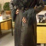 Пальто кожаное утеплённое. Фото 1.